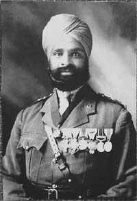 Subedar Major Thakur Singh Bahadur of the 47th Sikhs, who was among the first to receive the Military Cross for gallantry in action, on October 27, 1914 at Neuve Chapelle
